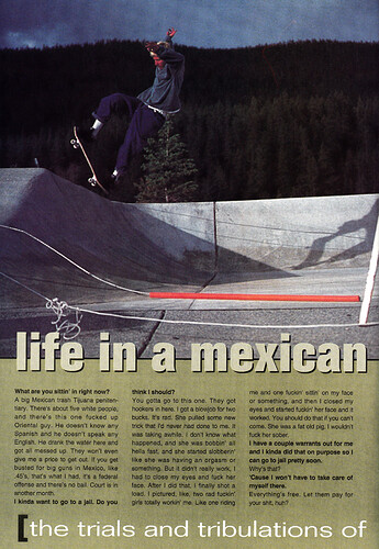 Josh Swindell and Danny Way killed a guy, and Josh went to jail for it. Big Brother magazine, issue 5.